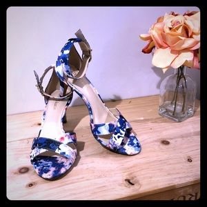 Kelly and Katie blue floral heels